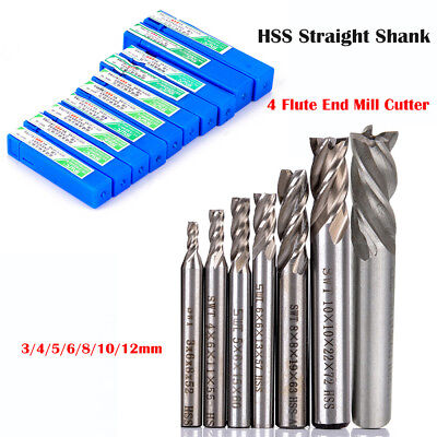 HSS 4 Flûte Fraise Foret Perceuse Drill Bit End Mill Cutter 3/4/6/8/10/12mm