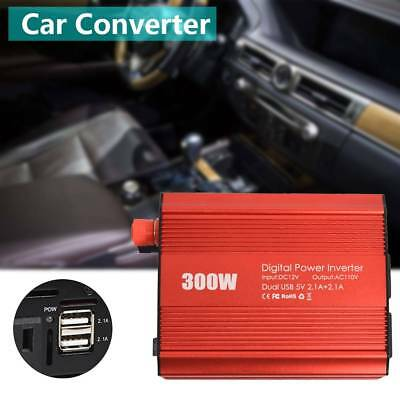300W Power Inverter DC 12V to 110V AC Car Adapter with 2.4A Dual USB Charger