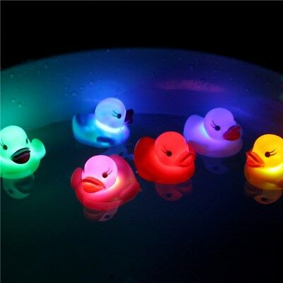 Baby Shower Bath Toy Led Water Glow Duck Floating Flash Infant Kid Play Duck