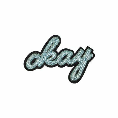 Blue Glitter Okay Text (Iron On) Embroidery Applique Patch Sew Iron Badge