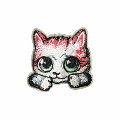 Cute Wide Eyed Toon Cat (Iron On) Embroidery Applique Patch Sew Iron Badge