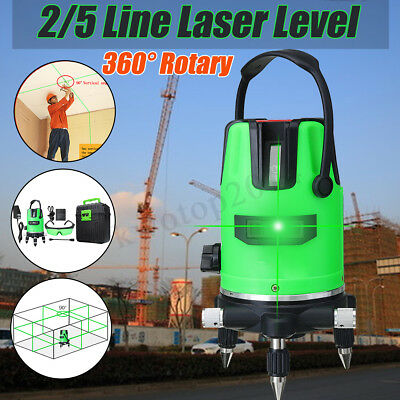 3D Green 2/5 Line Laser Level 360° Rotary Self Leveling Horizontal Vertical Tool