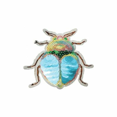 Special Blue Sequin Bug (Iron On) Embroidery Applique Patch Sew Iron Badge