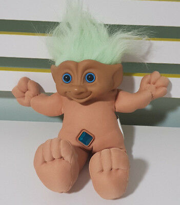 1992 Ace Novelty Troll Doll Green Hair Blue Diamond Gem In Belly  About 30Cm!