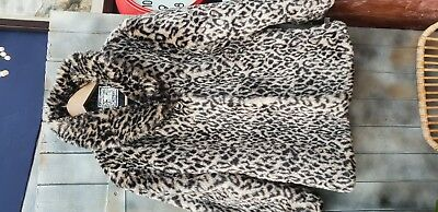 Vintage St Bernard For Dunnes Fur Coat Animal Print With Feature Button
