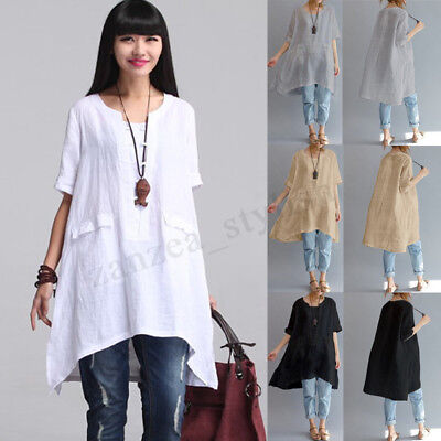 ZANZEA Women Autumn Crew Neck Baggy Solid Asymmetric Hem Long Tops Shirt Dress