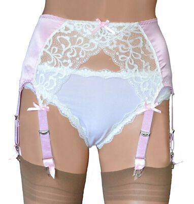 8 Strap Suspender Belt in Pink Satin with White Lace Front 5 Sizes up to UK 26