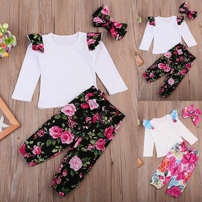 UK Floral Newborn Outfit Baby Girls Rompers Leggings Playsuit Clothes Bodysuits