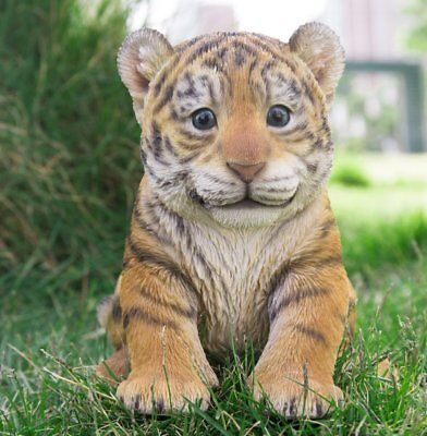 NEW Tiger Cub Sitting Figurine - Life Like Figurine Statue Home / Garden Detaile