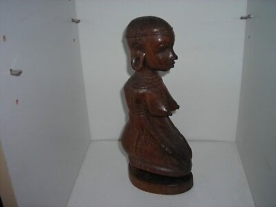 African Tribal Woman Kneeling Sculpture Statue Carved Wood African Art