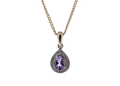 £1,100.00  New - Certified by GIE 9ct Rose Gold Amethyst And Diamond Pendant 0