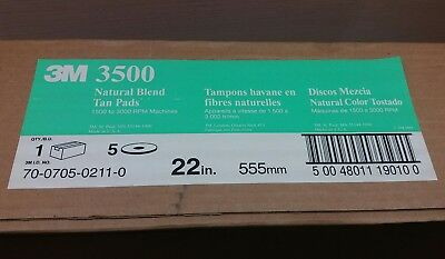 "3M Natural Blend Tan 22"" Burnishing Floor Pad 3500, Case of 5 Pads"