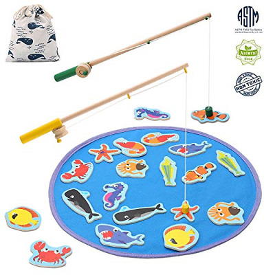 TEPSMIGO Magnetic Wooden Fishing Pole Game for Kids, Educational Go Fish Gaming