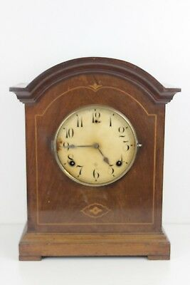 Edwardian Inlaid Mahogany Mantel Clock  Enamel Arabic Dial (NO GLASS ) 36cm High