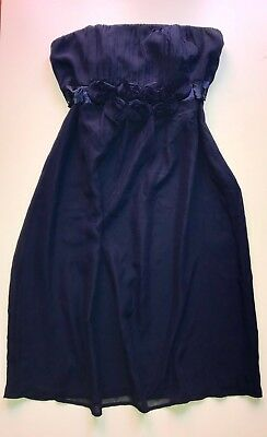 A Pea in the Pod Maternity Formal Silk Dress, Blue, Size Small, Strapless