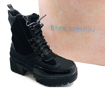 1d9c793bb4e19 Women's Lace Up Lug Sole Chunky Heel Paneled Military Combat Boots Commander