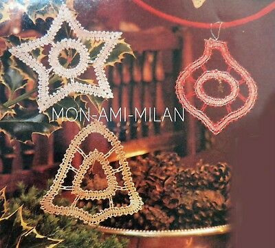 Christmas Tree Decorations Bobbin Lace-Making Pattern Photocopy Bell Bauble Star