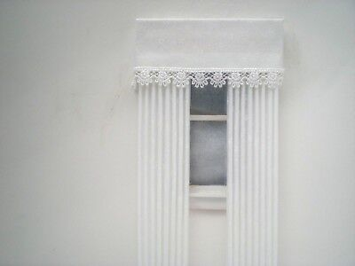 Dollhouse Miniature Handmade White Pleated Drapes Curtains