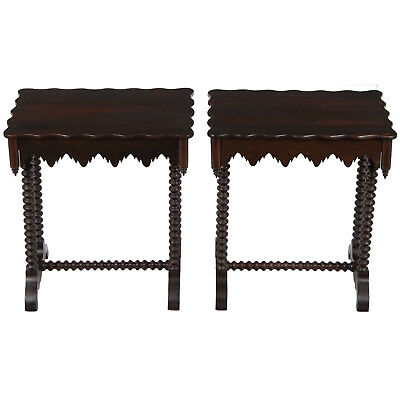 Antique Pair of Gothic Mahogany Side End Accent Lamp Tables Drawers Nightstands