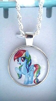 My Little Pony Rainbow Dash Silver Plated Pendant 18 Inch Chain & Gift Box
