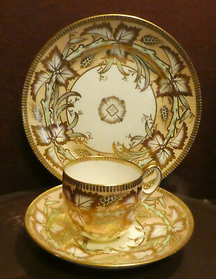ANTIQUE English? PORCELAIN TEA CUP AND PlateTRIO Gold Green Peach RO877 SO14