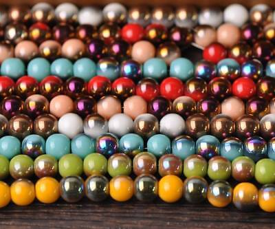 50pcs 8mm Charms Round Half Plated Double Color Opaque Glass Loose Spacer Beads