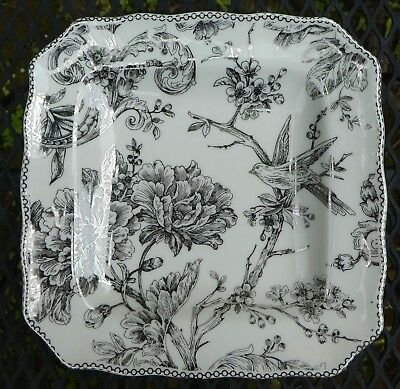 "222 Fifth Adelaide Silver Square Salad Plate 8-1/2"" Bird Floral Toile"