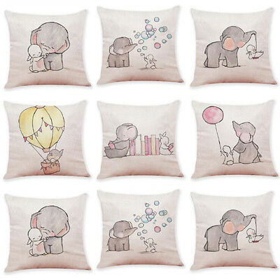 Cartoon Animal Linen Cushion Cover Throw Pillow Case Sofa Kids Bedroom Decor
