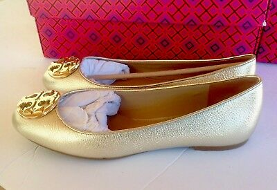 NIB Tory Burch CLAIRE Ballet Flat Shoes Metallic Tumbled Leather 7.5 Spark GOLD