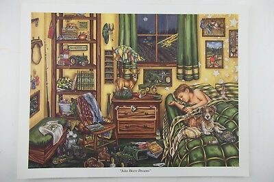 JOHN DEERE DREAMS by Gale Osborne Lithograph Print, Child Childrens Bedroom 9x12