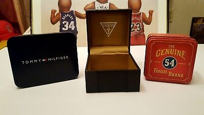 Vintage GUESS Watch box Tommy Hilfiger wallet tin Fossil watch tin empty LOT