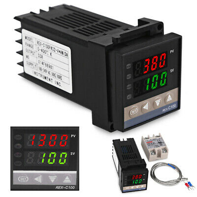 Digital PID REX-C100 Temperature Controller & max.40A SSR & K Thermocouple 1M UK