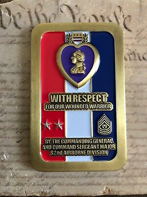 PURPLE HEART COMMANDING General CG CSM 82nd Airborne Division Challenge Coin