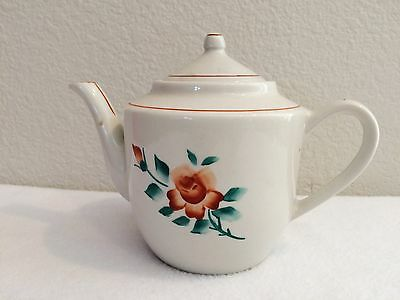 Vintage Japanese Teapot For One White Floral Stamped Signed On Bottom