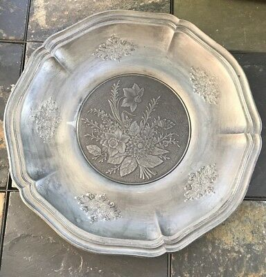 Queen Anne Style Floral Design Pewter Charger