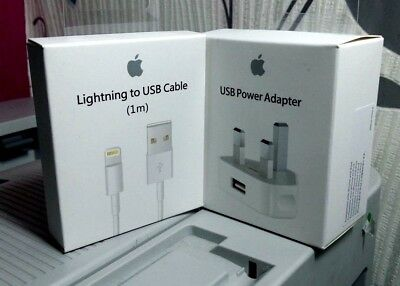 Genuine Apple Wall Charger Plug & USB Cable For iPhone XS XMAX 8 7 6 5S iPad BOX