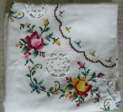 Vintage Hand Embroidered/cross Stitch Linen Tablecloth With Crochet Detail