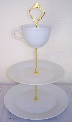 Brand new white 3 tier/layer ceramic cup topper cake stand for afternoon tea