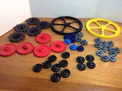 """KNEX Gears Mix 5/"""" 2 1//4/"""" 1 Inch Yellow Red Gray Gold Blue Black Parts//Pieces Lot"""