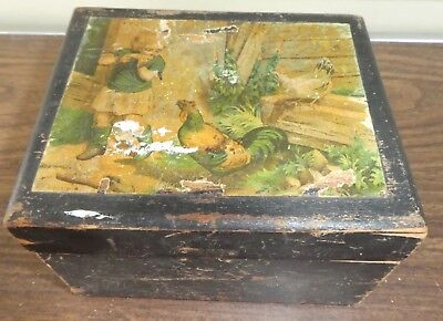 Antique SWH Wards Argosy Collars Wood Advertising Box Victorian Boy & Chickens