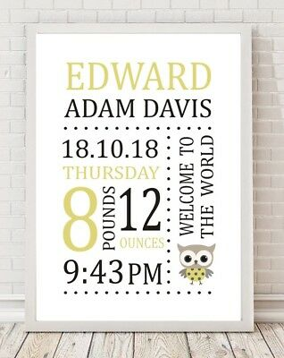 Personalised Baby Birth Christening Gift Keepsake A4 Poster Print PO240