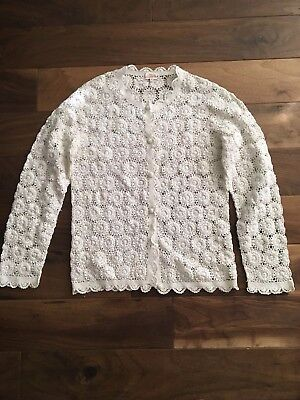 White Vintage Lace Crochet Cardigan Sweater Top Size Large Hand