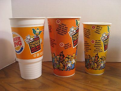 Burger King - The Simpsons -  Set of 3 Cups - New - Pointless Trivia - 2002