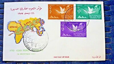 EGYPT - POSTAL HISTORY - FDC COVER 1957 Scott# 410/412. AFRO/ASIAN PEOPLES CONF.