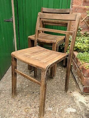 Stacking Cafe School Church Dining Chairs X4 Mid Century Furniture