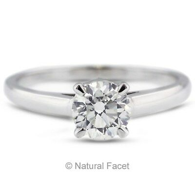 0.70ct H/SI3/VG Round Certify Diamond 14k White Gold Basket Solitaire Ring 1.8mm