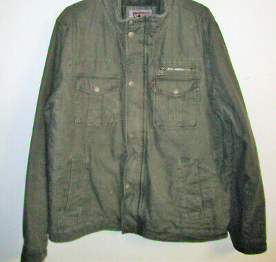 Men's Size  Levi Strauss Cargo Jacket  Olive Green Coat Zip Up Size-LARGE R1