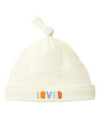 NWT~Gymboree CLOUD CUTIE Loved white ivory beanie hat~3-6
