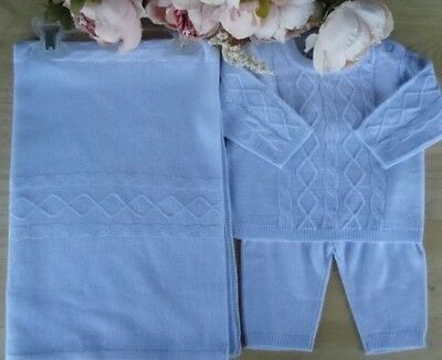 Spanish Style 3 Pcs Baby Boy BLUE Fine Knit Blanket & Outfit Top Bottom NB-3-6m
