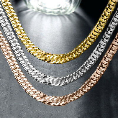 18K Gold Filled Heavy Stainless Steel Curb Cuban Link Chain Men Necklace 24mm